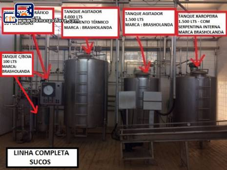 Complete line for production pasteurization and juice filling